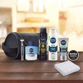 Refreshingly Yours 8 Piece Travel Grooming Kit - Deodorant, Face Wash, After Shave, Razor, Towel, Shave Foam, Cream And