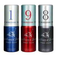 Royal County Of Berkshire Polo Club No 1, 9, 8 Pack of 3 Deodorant Sprays