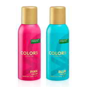 United Colors Of Benetton Colors Pink And Blue Pack Of 2 Deodorants