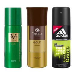 DeoBazaar Value Pack Of 3 Deodorant Sprays - Versace 1969 Impulse, Yardley London Gold And Adidas Pure Game