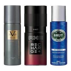 DeoBazaar Value Pack Of 3 Deodorant Sprays - Versace 1969 Play On, Axe Recharge And Brut Oceans