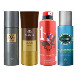 Versace 1969 Play On, Yardley London Gold, BHPC Sport No. 1, Brut Sport Style Pack of 4 Deodorant Sprays