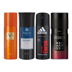 Versace 1969 Romance, Yardley London Elegance, Adidas Team Force, Axe Rechage 24X7 Pack of 4 Deodorant Sprays