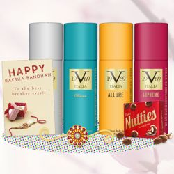 Versace V19.69 Entice, Dare, Allure, Supreme, Cadbury Nutties, Greeting Card, Rakhi Teeka Combo
