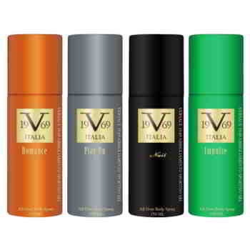 Versace V1969 Italiano Romance, Play On, Nuit, Impulse Value Pack Of 4 Deodorants