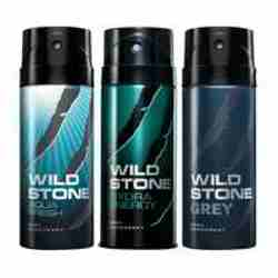 Wild Stone Aqua Fresh Hydra Energy Grey Pack of 3 Deodorants
