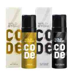 Wild Stone Code Platinum And Gold Pack Of 2 No Gas Deodorants For Men