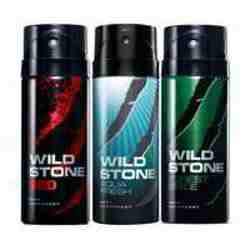 Wild Stone Red Aqua Fresh Forest Spice Pack of 3 Deodorants