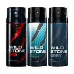 Wild Stone Red Aqua Fresh Grey Pack of 3 Deodorants
