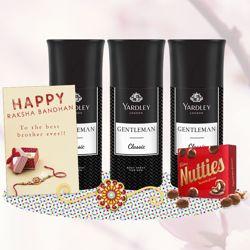 Yardley London Gentleman 3 Deos, Cadbury Nutties, Greeting Card, Rakhi Teeka Combo