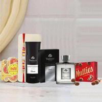 Yardley London Gentleman Perfume Deo, Cadbury Nutties, Greeting Card, Rakhi Combo