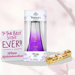 Yardley London Morning Dew Perfume, Ferrero Rocher, Greeting Card Combo