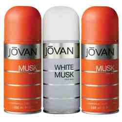Jovan 2 Musk And White Musk Pack of 3 Deodorants For Men