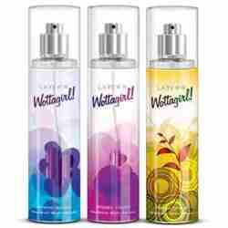 Layerr Wottagirl Secret Crush, Fresh Citrus And Mystic Island Pack Of 3 Body Mists